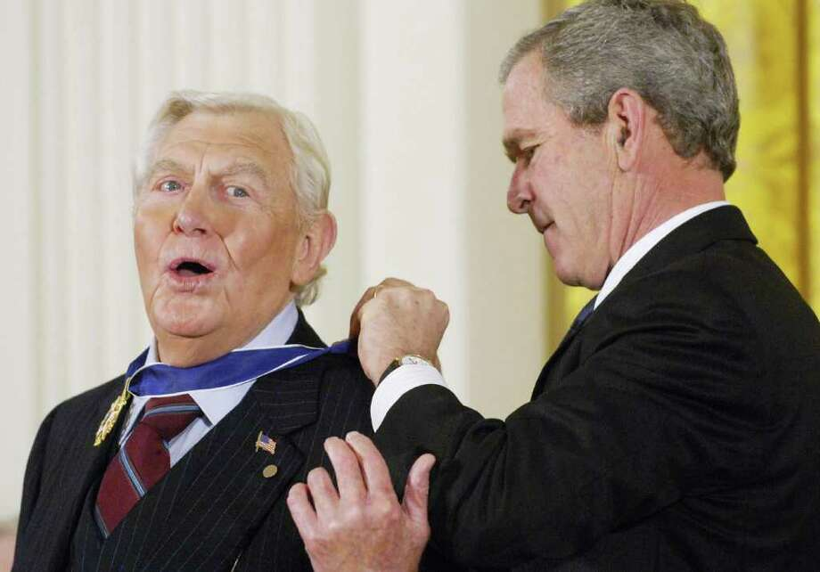 "Actor Andy Griffith also was born in June 1, 1926. Best known for ""The Andy Griffith Show"" and ""Matlock,"" Griffith is shown here receiving the Presidential Medal of Freedom, the nation's highest civil award, from President George W. Bush in the East Room of the White House on November 9, 2005 in Washington, D.C. Photo: MANDEL NGAN, AFP/Getty Images / 2005 AFP"