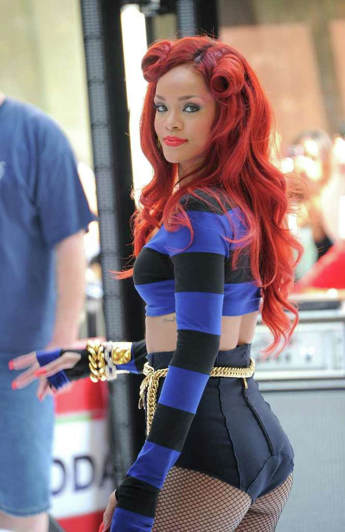 """Singer Rihanna performs on NBC's """"Today"""" in Rockefeller Plaza in New York City."""