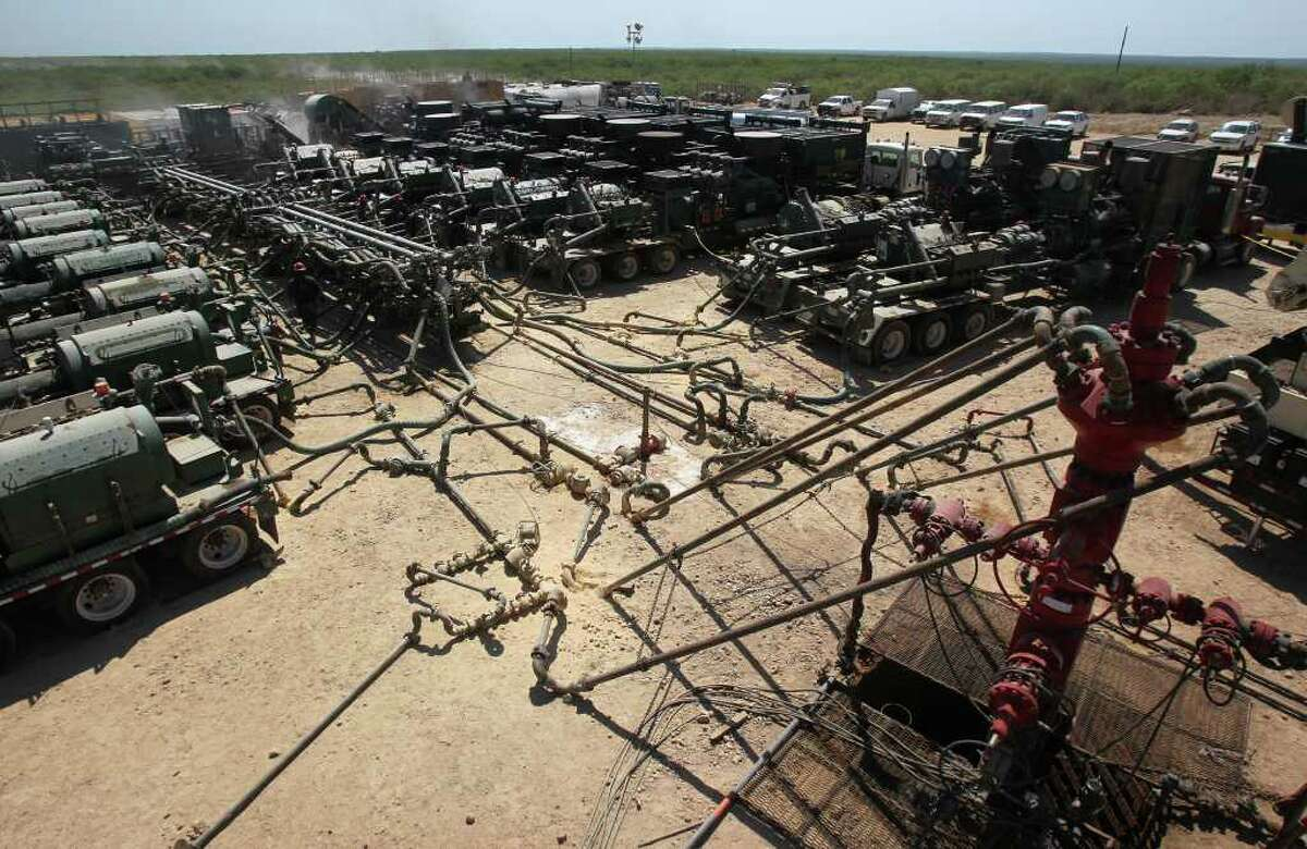 This is one of Chesapeake Energy's hydraulic fracturing operations over the Eagle Ford shale formation near Carrizo Springs.