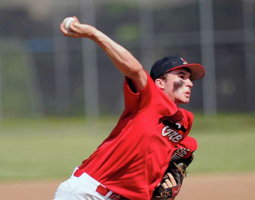 Alex Smith of Greenwich High School throws during a 9-0 loss in the Class LL boys high school baseball playoff game between Greenwich High School and Norwalk High School at City Hall Field, Norwalk, Tuesday afternoon, May 31, 2011. Greenwich was defeated 9-0 by Norwalk.