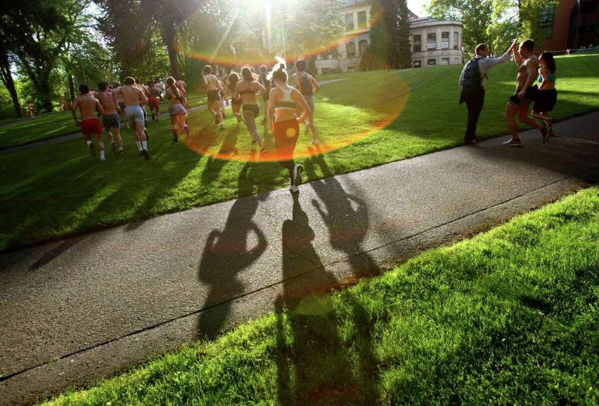 Students run across campus during the Undie Run Challenge.