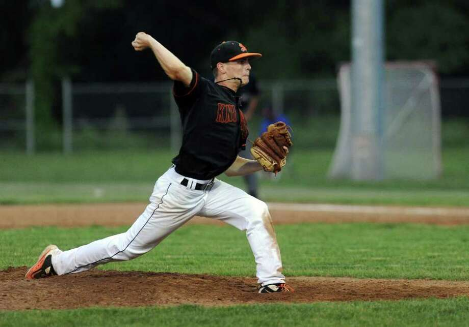 Tom McIntosh pitches during Tuesday's game at Brien McMahon High School on May 31, 2011. Photo: Lindsay Niegelberg / Connecticut Post