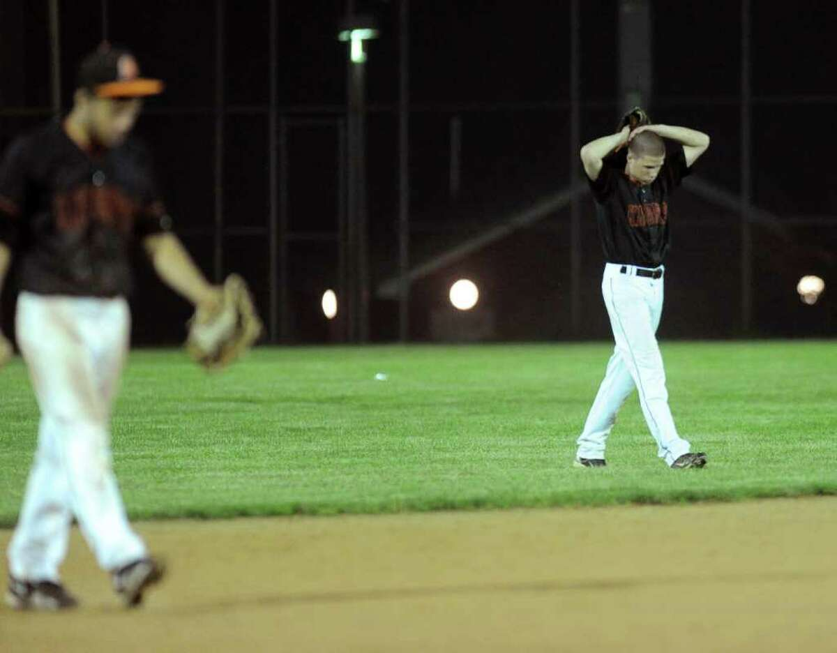 Stamford players react to losing Tuesday's game at Brien McMahon High School on May 31, 2011.