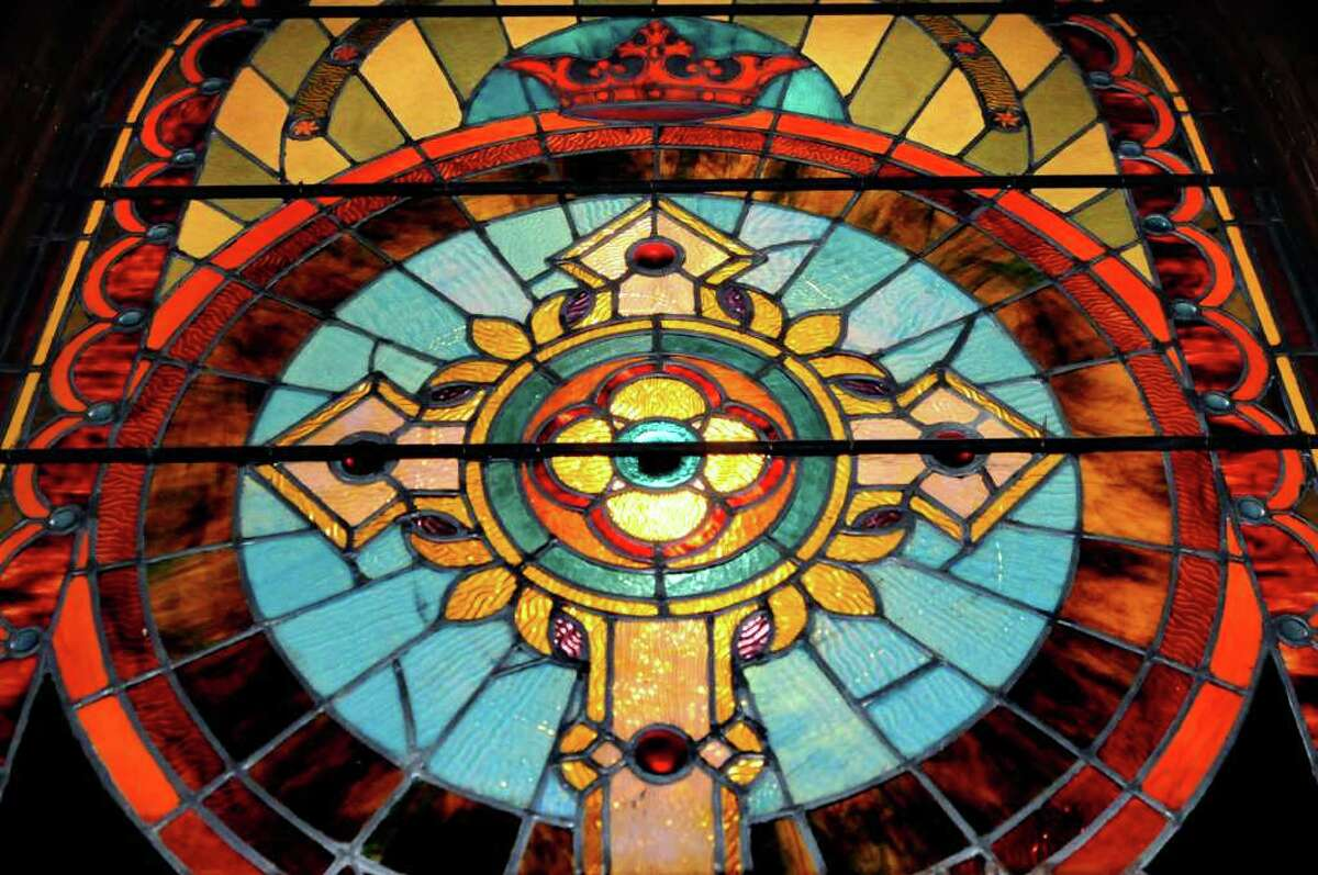 Stained-glass window behind the alter at Trinity Episcopal Church in Rensselaerville, N.Y. (Cindy Schultz / Times Union archive)