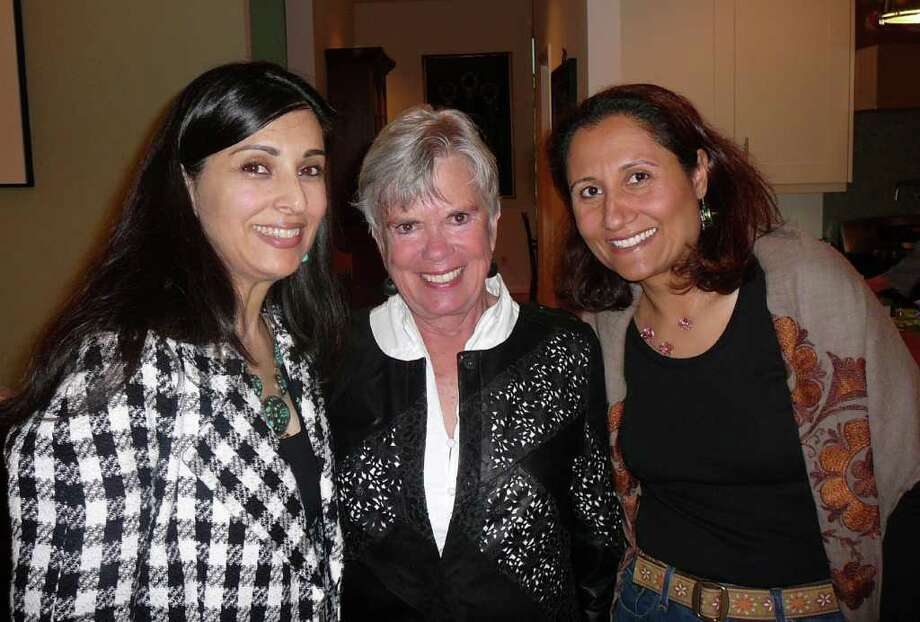 From left, Hassina Sherjan, Susan E. Blabey and Shekaiba Wakili-Bennett. Sherjan, director of Aid Afghanistan for Education, was recently honored by the UN Committee of New Canaan. Photo: Contributed Photo / New Canaan News