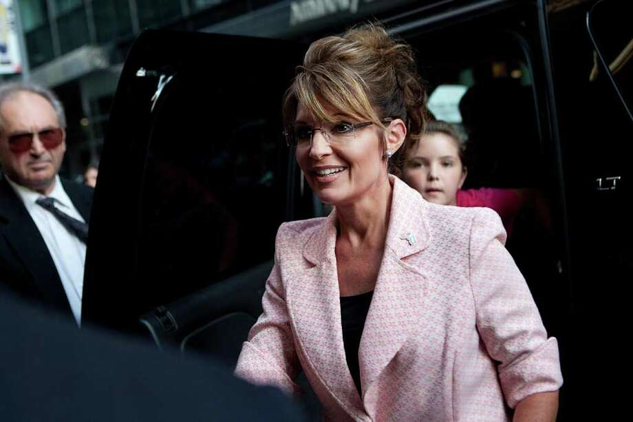 NEW YORK, NY - MAY 31:  Former U.S. Vice presidential candidate and Alaska Governor Sarah Palin arrives at Trump Tower on 56th Street and 5th Avenue on May 31, 2011 in New York City. Palin and Donald Trump later exited the building for dinner. Photo: Andrew Burton, Getty Images / 2011 Getty Images