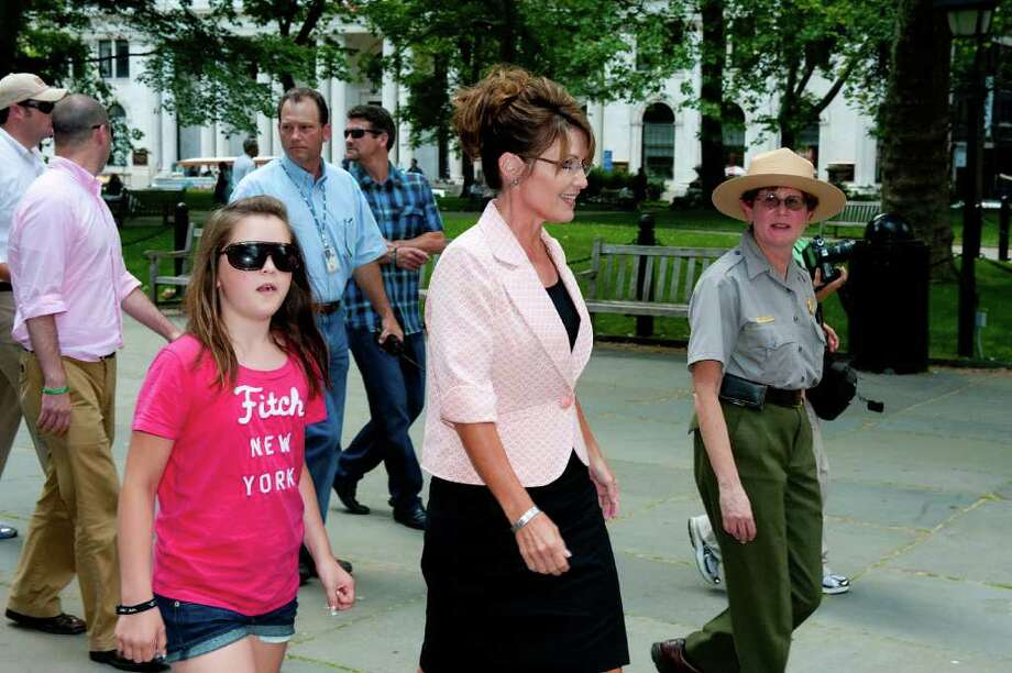 "PHILADELPHIA, PA - MAY 31: Sarah Palin (2nd R) arrives at Independence Hall with her daughter Piper (3rd L) during her ""One Nation"" bus tour May 31, 2011 in Philadelphia, Pennsylvania. Palin is visiting American landmarks during the tour, although she is not informing the media as to where she is going, prompting many media outlets to follow her bus from place to place. Photo: Jeff Fusco, Getty Images / 2011 Getty Images"