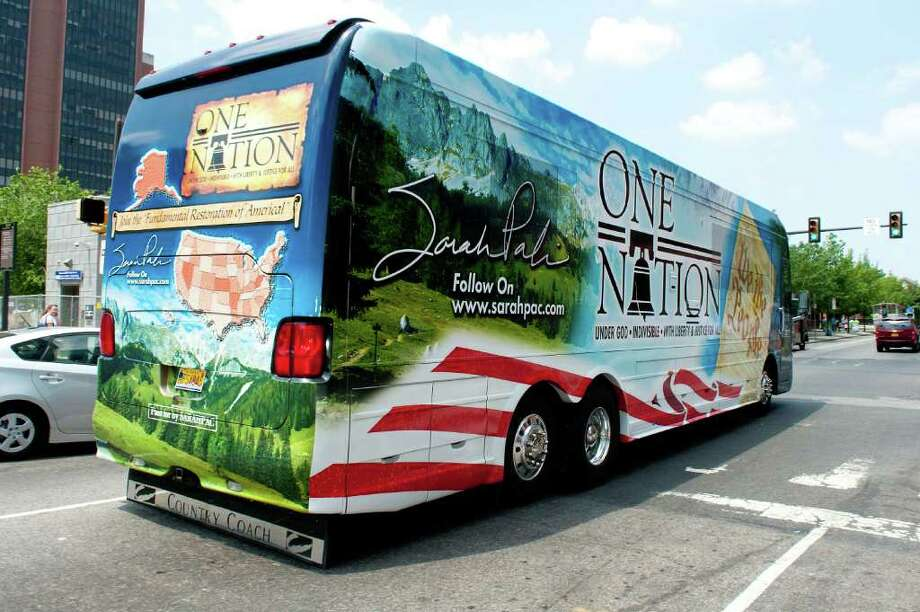 "PHILADELPHIA, PA - MAY 31: Sarah Palin's tour bus leaves the Liberty Bell Center during her ""One Nation"" bus tour May 31, 2011 in Philadelphia, Pennsylvania. Palin is visiting American landmarks during the tour, although she is not informing the media as to where she is going, prompting many media outlets to follow her bus from place to place. Photo: Jeff Fusco, Getty Images / 2011 Getty Images"