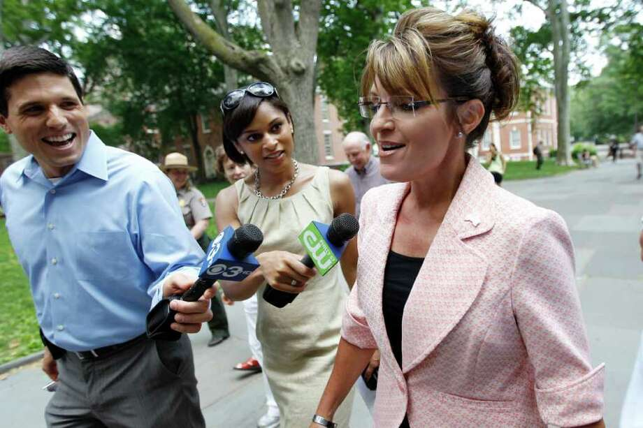 Sarah Palin, former GOP vice presidential candidate and Alaska governor, is seen as she makes her way to Independence Hall during her visit to Independence National Historical Park Tuesday, May 31, 2011, in Philadelphia. Photo: Matt Rourke, AP / AP