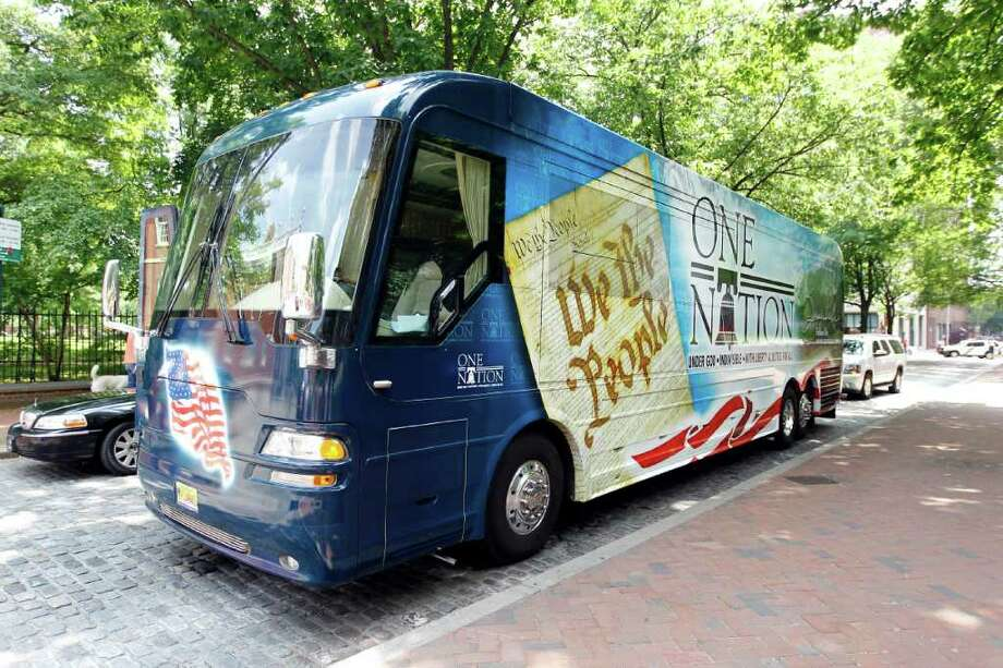 The tour bus of Sarah Palin, former GOP vice presidential candidate and Alaska governor, is parked outside Independence National Historical Park Tuesday, May 31, 2011, in Philadelphia. Photo: Matt Rourke, AP / AP