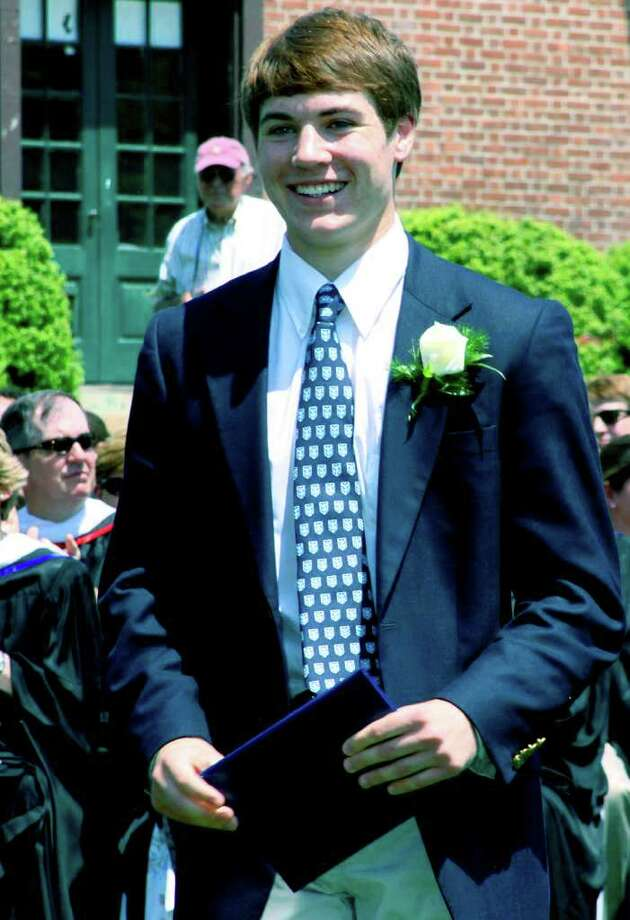 SPECTRUM/Shane Wilson of New Milford sports a graduate's smile after receiving his diploma Tuesday during the Canterbury School graduation ceremony. May 31, 2011 Photo: Walter Kidd / The News-Times Freelance
