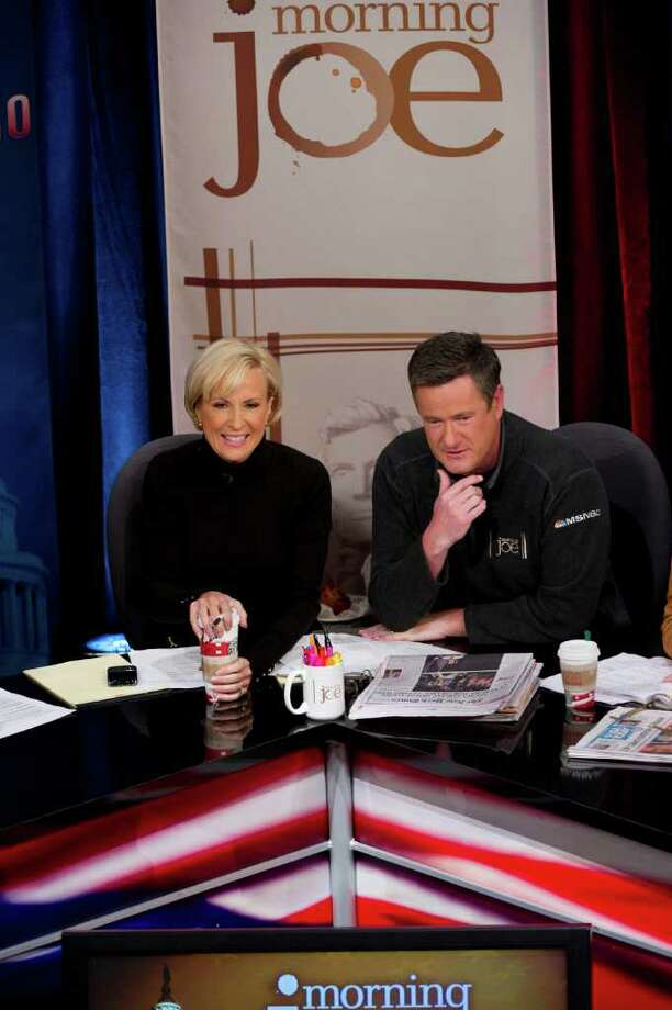 "Mika Brzezinski and Joe Scarborough, co-hosts of MSNBC's weekday morning program, ""Morning Joe. Photo: Virginia Sherwood/MSNbc / © NBC Universal, Inc."