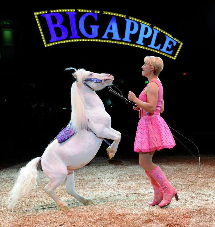 Jenny Vidbel fills the ring with a playful chorus line of 12 white mini-horses in Dance On! the 33rd Season show of the Big Apple Circus! The production opens on Friday, June 10 at Stamford's Mill River Park. Photo: Contributed Photo / Connecticut Post Contributed
