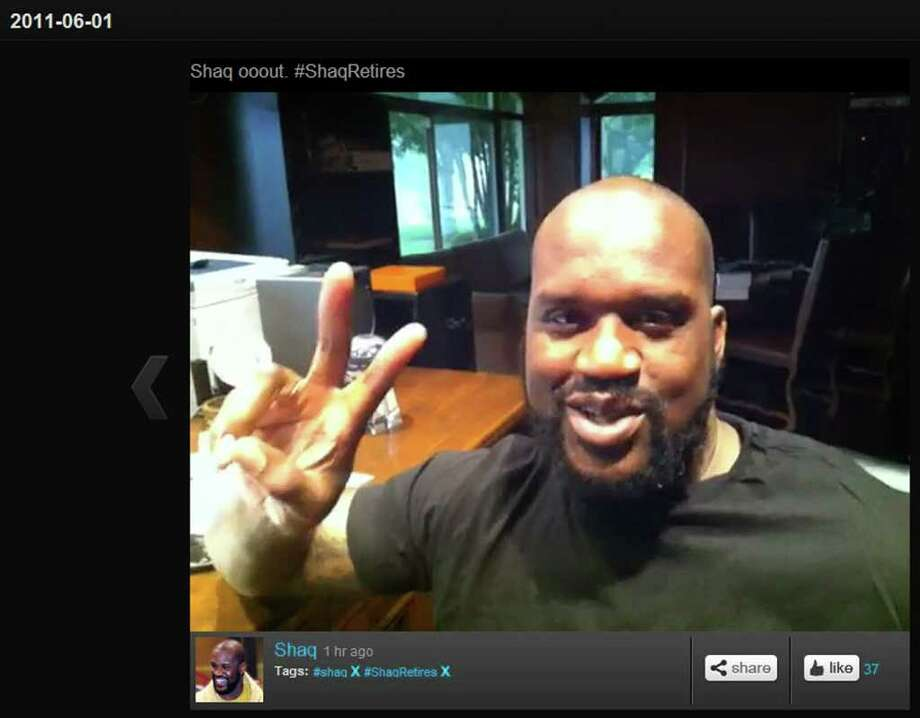 Shaquille O'Neal announced his retirement via Twitter and Tout. Photo: Tout.com
