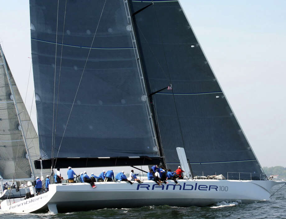 Rambler 100, George David's rocket ship built for speed, broke -- by 42 minutes and 45 seconds -- Boomerang's 2002 record in the Storm Trysail Club's Block Island Race. Photo: Contributed Photo / Stamford Advocate Contributed
