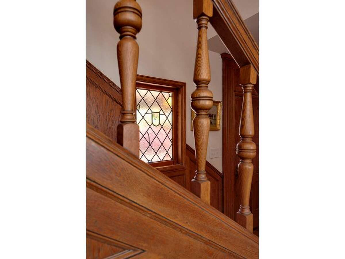 Staircase and unique window.
