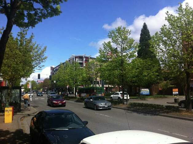 Looking north in the 12300 block of Lake City Way Northeast, May 2011. Photo: Casey McNerthney/seattlepi.com