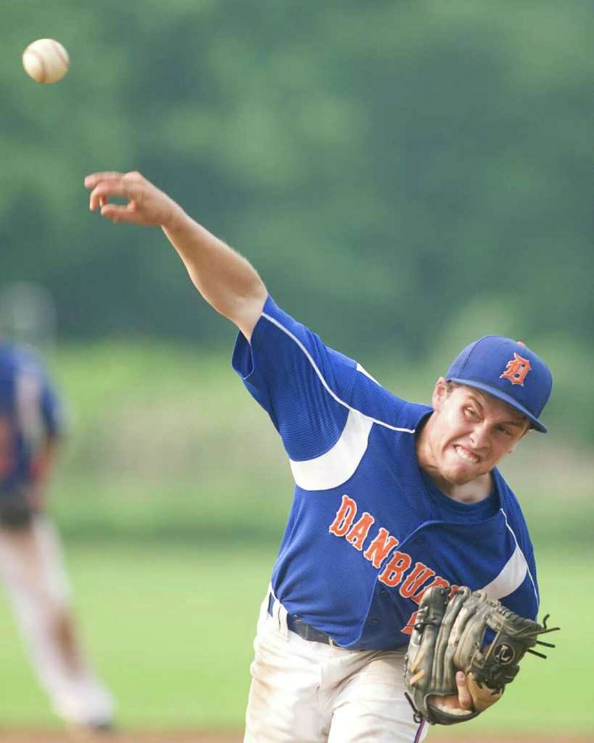 Danbury's Robbie Meerman pitched six innings against Staples in the Class LL state tournament second round game Wednesday at Danbury High School.
