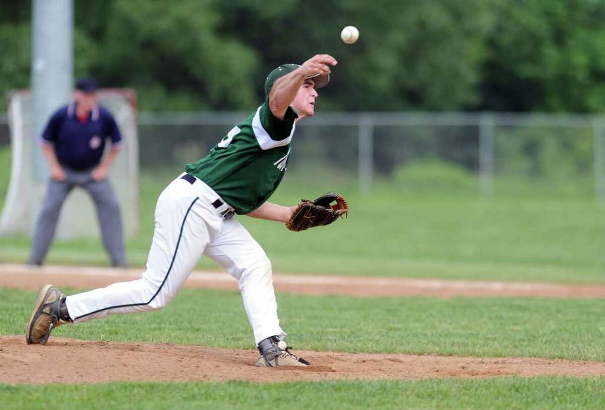 Norwalk's Spencer Jacoby pitches during Wednesday's Class LL baseball game at Brien McMahon High School on June 1, 2011.