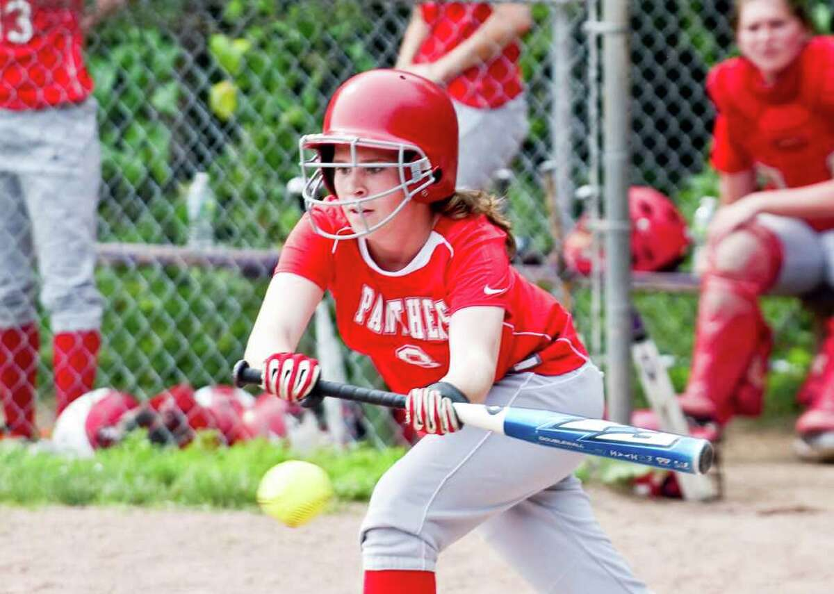 Pomperaug's Caitlyn Hamilton at bat as Westhill High School hosts Pomperaug in a Class LL softball game in Stamford, Conn., June 1, 2011.