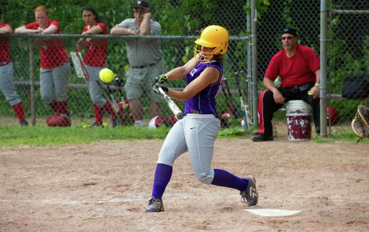 Westhill's Casandra Kish hits as Westhill High School hosts Pomperaug in a Class LL softball game in Stamford, Conn., June 1, 2011.