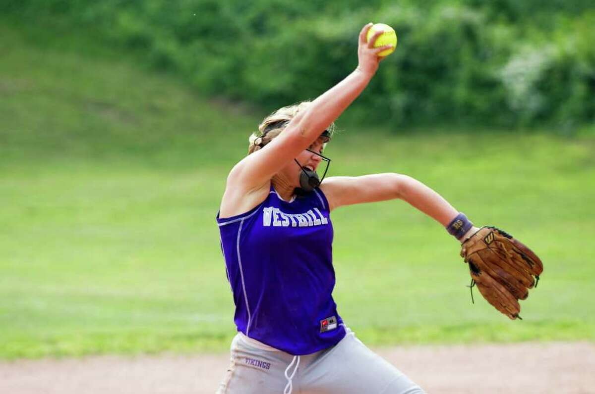Westhill's Allison Macari throws as Westhill High School hosts Pomperaug in a Class LL softball game in Stamford, Conn., June 1, 2011.