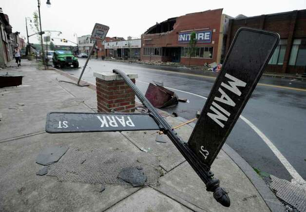 Storm damage in downtown Springfield, Mass. (Jessica Hill / Associated Press) Photo: Jessica Hill