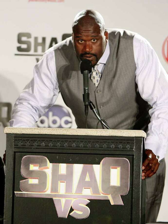 "NBA basketball player Shaquille O'Neal speaks during a taping of the television show ""Shaq VS"" at Planet Hollywood Hotel & Casino, Tuesday, Aug. 18, 2009 in Las Vegas. In the series, O'Neal challenges athletes to their sport of expertise. Photo: Isaac Brekken, AP / FR159466 AP"