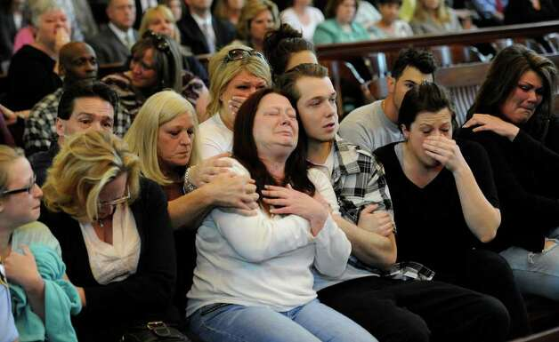 "Robin Ritrovato, mother of murder victim Arica Lynn Schneider, is comforted after Michael Mosley was convicted of killing her 18-year-old daughter and Samuel ""Frost"" Holley at the Rensselaer County Courthouse. (Skip Dickstein / Times Union)) Photo: SKIP DICKSTEIN / 2008"