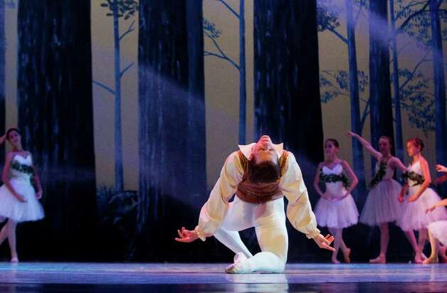 "New York City Ballet principal dancer Daniel Ulbricht takes center stage as the Ballet School of Stamford holds a full dress rehearsal of ""The Sleeping Beauty"" at the Palace Theatre in Stamford, Conn.,  June 2, 2011. The show is 7 p.m. Friday evening, for tickets, call 203-325-4466. Photo: Keelin Daly / Stamford Advocate"