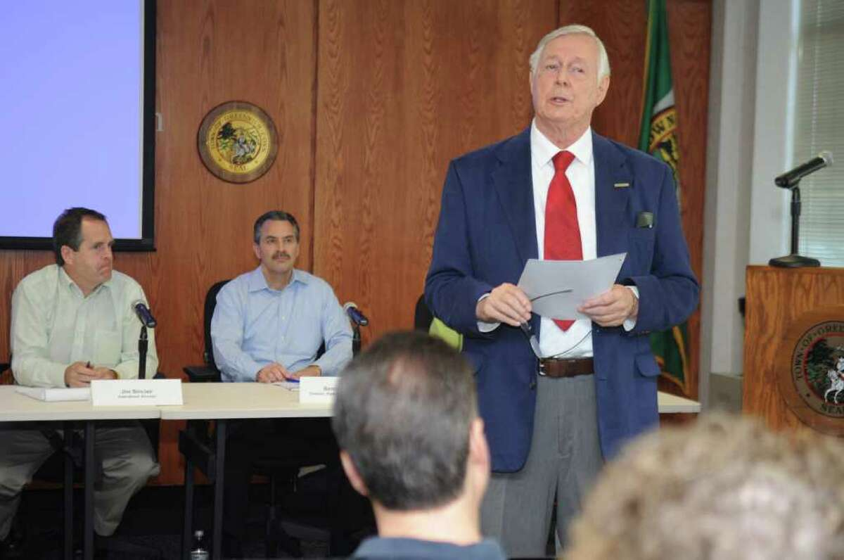 Joseph Humphrey, a member of the Riverside Asspciation's board of governors speaks at Greenwich Town Hall on Thursday, June 2, 2011, at a public conference concerning the interstate gas pipeline that runs through Fairfield County.