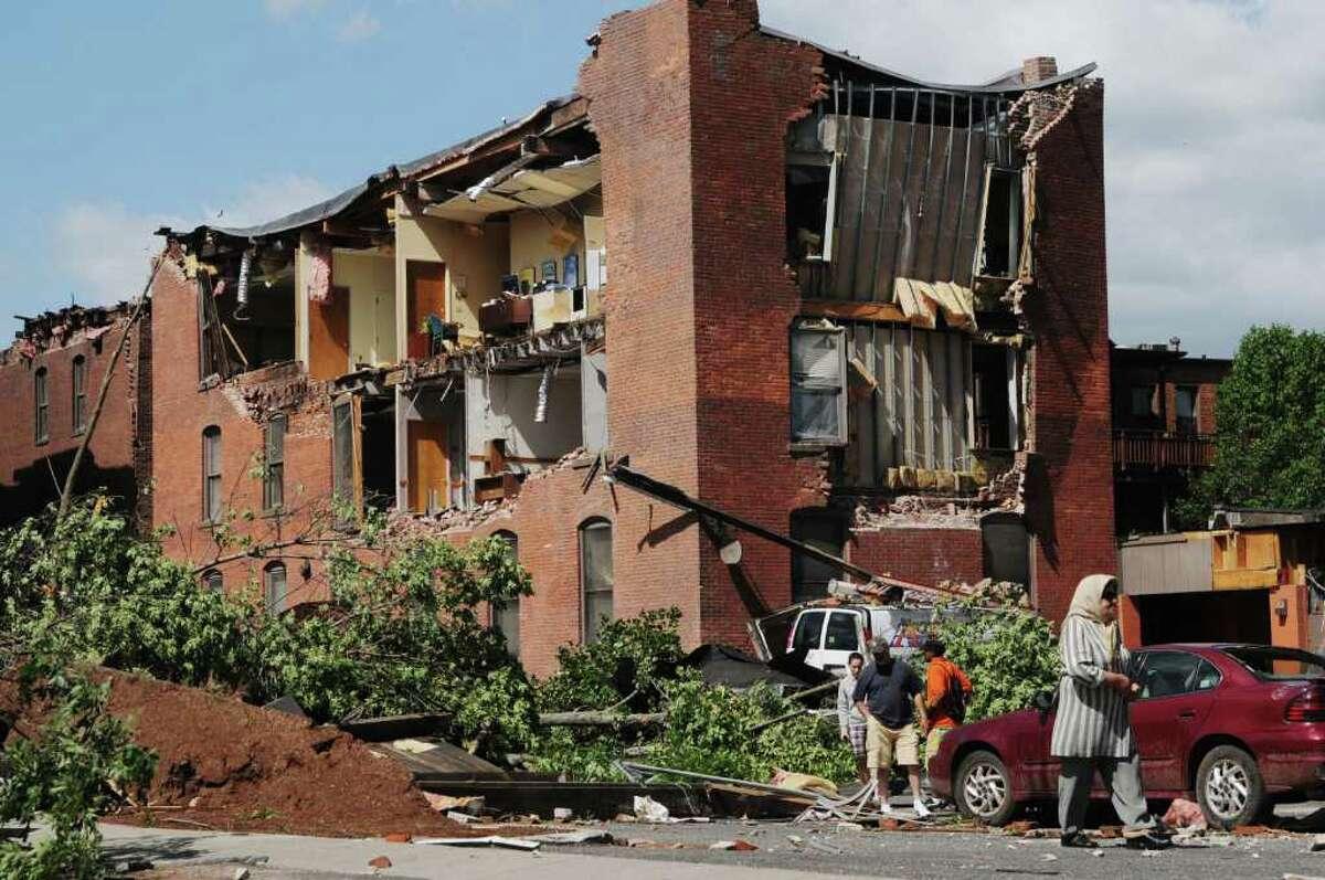 A tornado tore off part of a building Wednesday in downtown Springfield, Mass. (Paul Buckowski / Times Union)