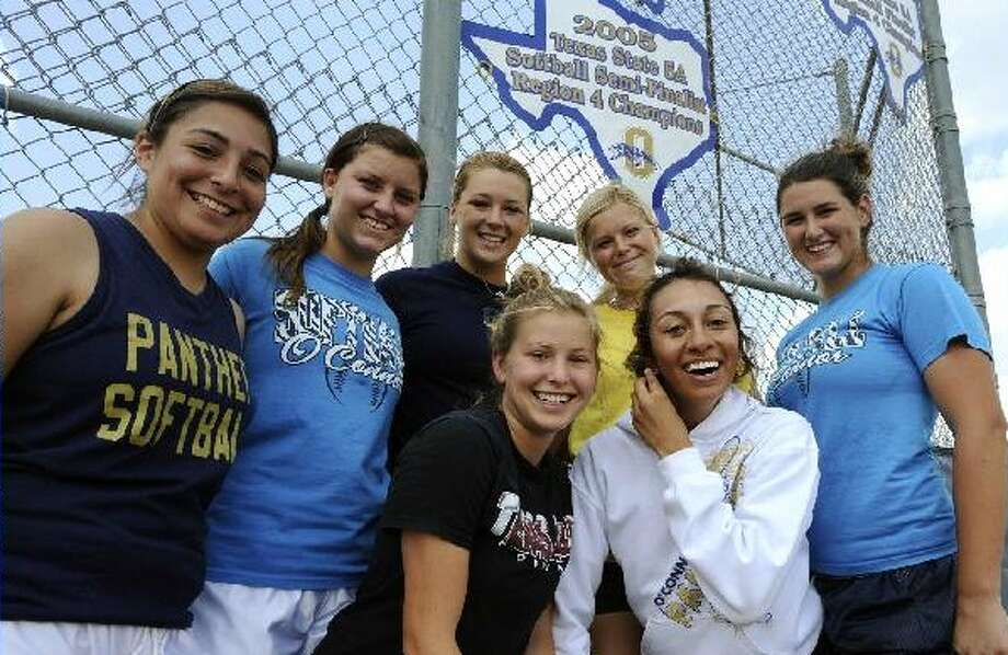 O'Connor seniors Ashley Lopez (from left), Brittany Haby, Taylor Vidrine, Courtney Tietze, Brittany Stone, Maegan Ramirez and Katy Vandewater have dreamt about making state since elementary school.  BILLY CALZADA/gcalzada@express-news.net