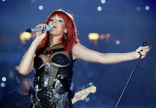 Rihanna performs during the 75th anniversary celebrations of this year's Champions League quarter finalists, FC Shakhtar Donetsk at Donbass Arena stadium in Donetsk, Ukraine, Saturday, May 14, 2011. Photo: AP