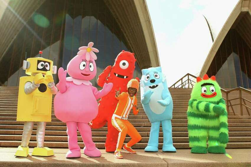 DJ Lance and the Yo Gabba Gabba gang pose during a photo call promoting their appearance at Vivid LIVE, at the Sydney Opera House in Sydney, Australia.