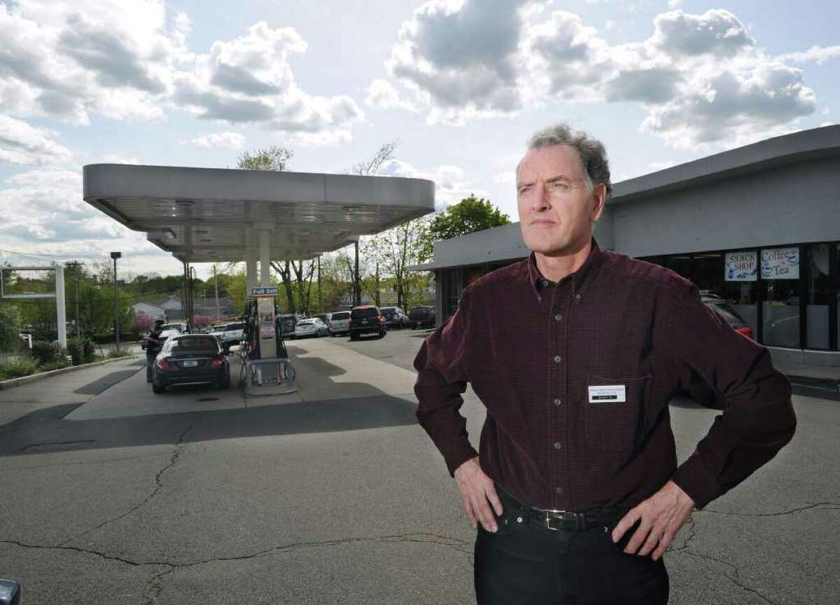 In this April 2010 file photo, Chris Canavan, president of Greenwich Automotive Services, at his service station on the corner of West Putnam Avenue and Dearfield Drive in Greenwich. The station has since closed and Canavan operates another in Port Chester, N.Y.
