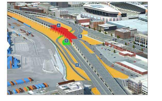 The first section (the red section above) of the Alaskan Way Viaduct is to be demolished in October. The bright green section represents the construction area, while the yellow part is the staging area. A: SR 99 closed for nine days while section of viaduct demolished; B: Northbound SR 99 on-ramp remains open during this period; C: Complete connection between permanent SR 99 lates and detour; D: Southbound SR 99 detour off-ramp to S. Atlantic Street complete. Photo: WSDOT