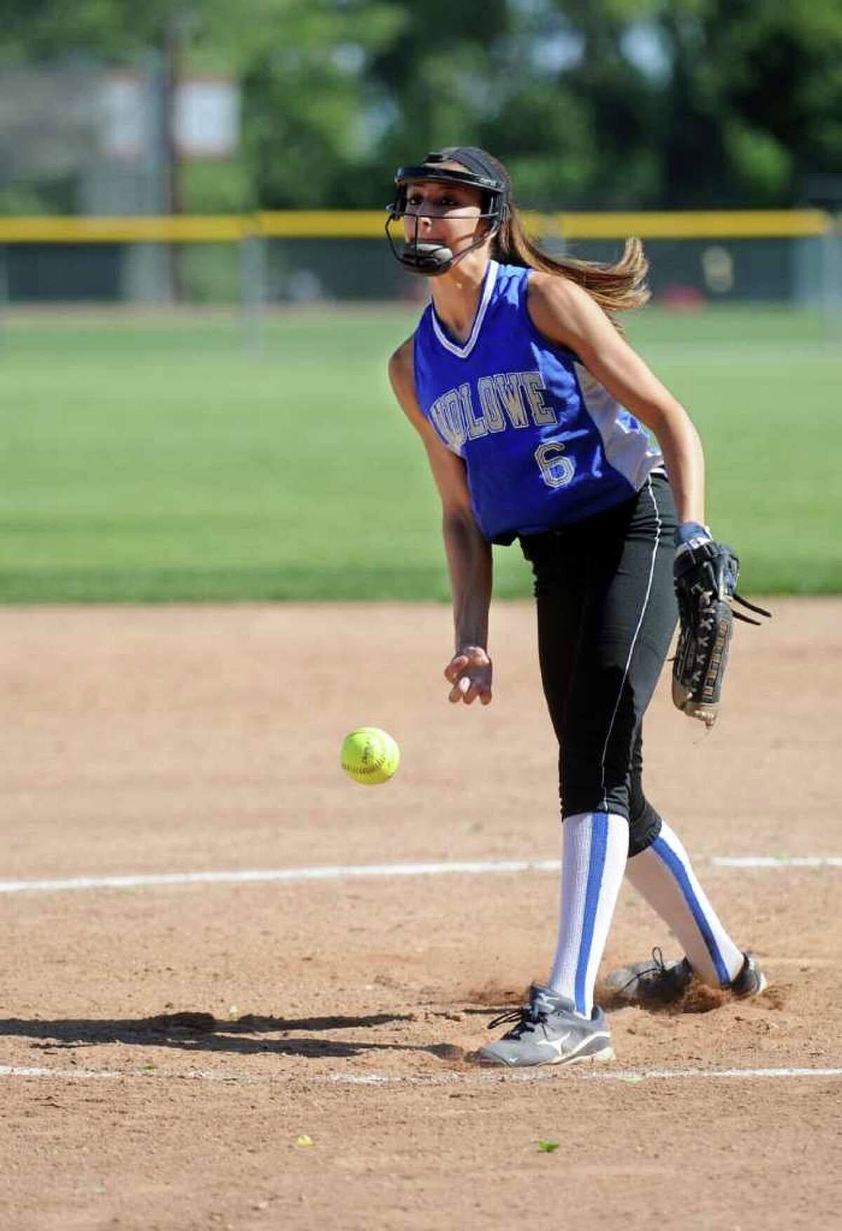 Ludlowe's Aliza Guerrero pitches during Friday's Class LL softball tournament game at Fairfield Warde High School on June 3, 2011.
