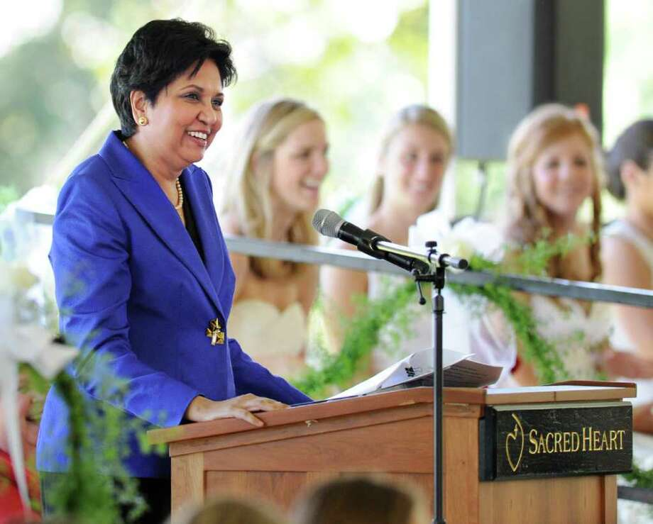 Indra Nooyi, chairman and chief executive officer of PepsiCo. speaks during the Convent of the Sacred Heart Commencement, Greenwich, Friday afternoon, June 3, 2011.  Nooyi's daughter, Tara, graduated from the school and will be attending NYU in the fall. Photo: Bob Luckey / Greenwich Time