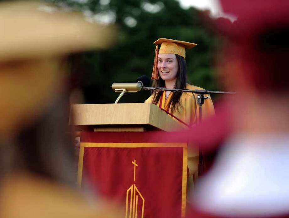Amanda Dudzinski gives the Valedictory Address, during St. Joseph High School's Commencement Exercises in Trumbull, Conn. on Friday June 3, 2011. Photo: Christian Abraham / Connecticut Post