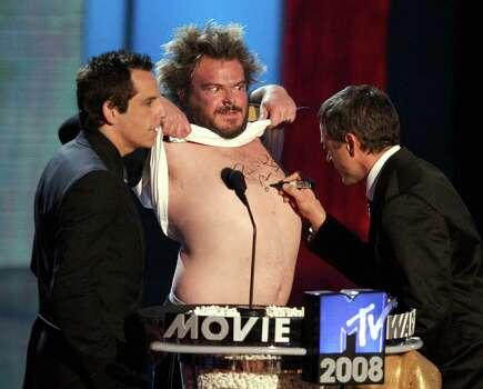 UNIVERSAL CITY, CA - JUNE 01:  (L-R) Actors Ben Stiller, Jack Black, and Robert Downey Jr. present during the 17th annual MTV Movie Awards held at the Gibson Amphitheatre on June 1, 2008 in Universal City, California. Photo: Kevin Winter, Getty Images / 2008 Getty Images