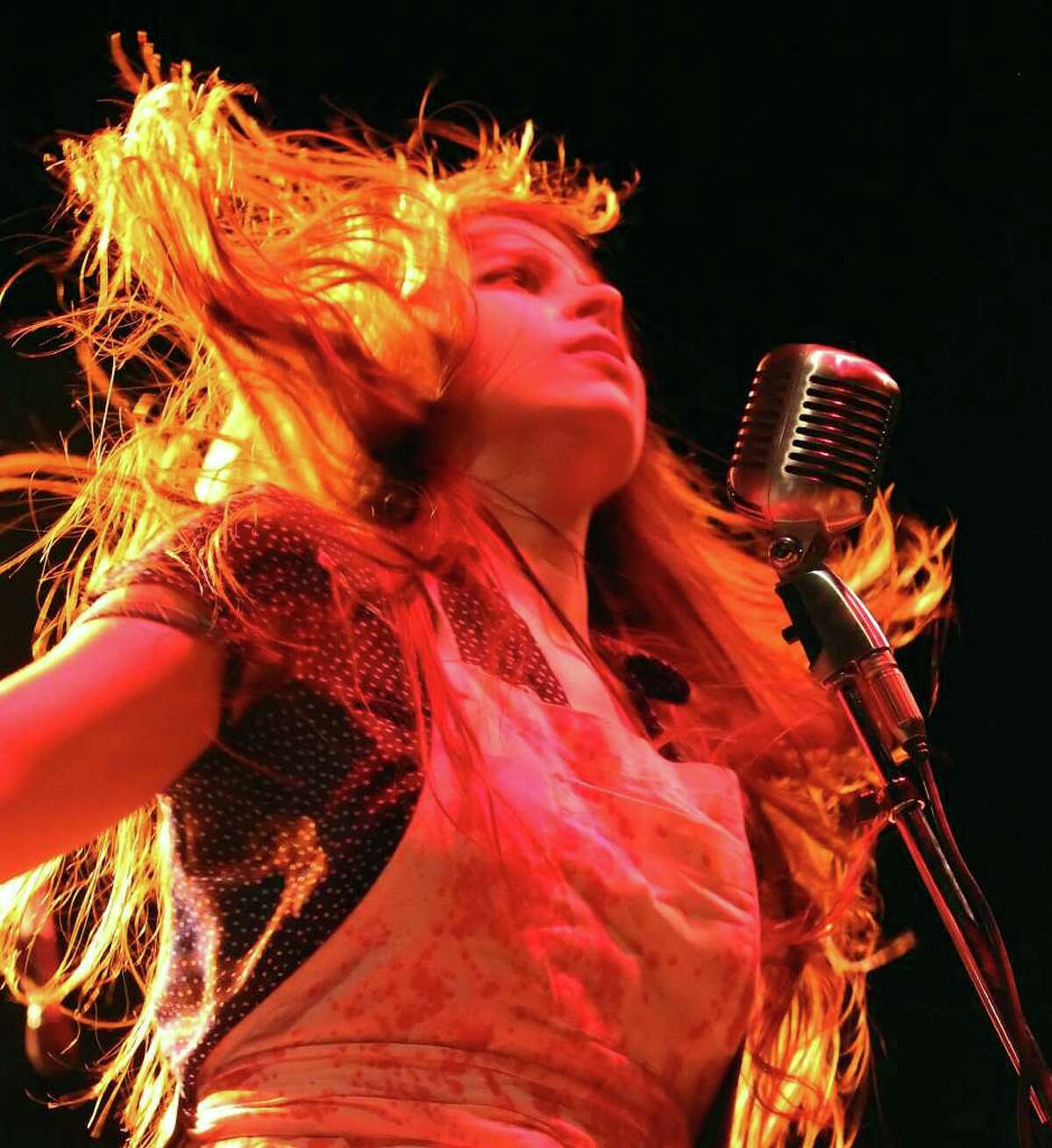 Le Butcherettes perform at AT&T Center on Friday, June 3, 2011. The band consists of Teri Gender Bender (pictured) on lead vocals, guitar and keyboard; Jonathan Hischke on bass and Gabe Serbian on drums. Kin Man Hui/kmhui@express-news.net