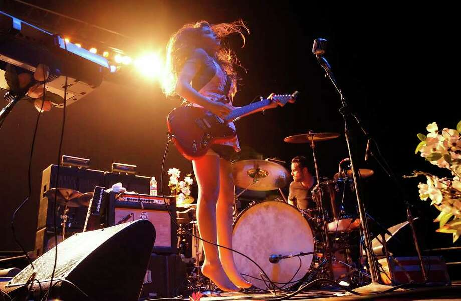 Le Butcherettes perform at AT&T Center on Friday, June 3, 2011. The band consists of Teri Gender Bender (center) on lead vocals, guitar and keyboard; Jonathan Hischke on bass and Gabe Serbian (right) on drums. Kin Man Hui/kmhui@express-news.net Photo: KIN MAN HUI, -- / San Antonio Express-News