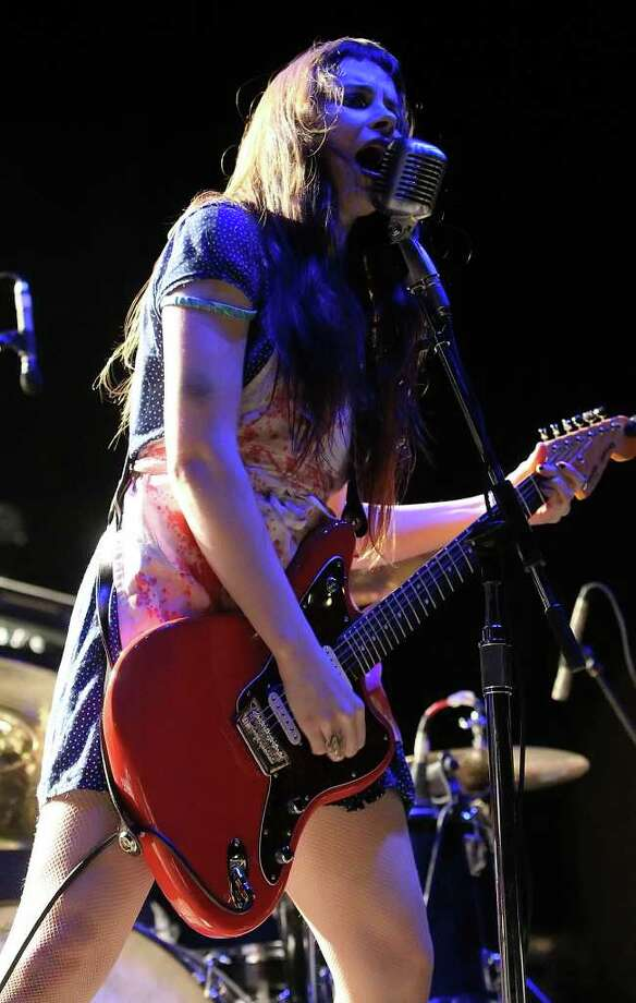 Le Butcherettes perform at AT&T Center on Friday, June 3, 2011. The band consists of Teri Gender Bender (pictured) on lead vocals, guitar and keyboard; Jonathan Hischke on bass and Gabe Serbian on drums. Kin Man Hui/kmhui@express-news.net Photo: KIN MAN HUI, -- / San Antonio Express-News