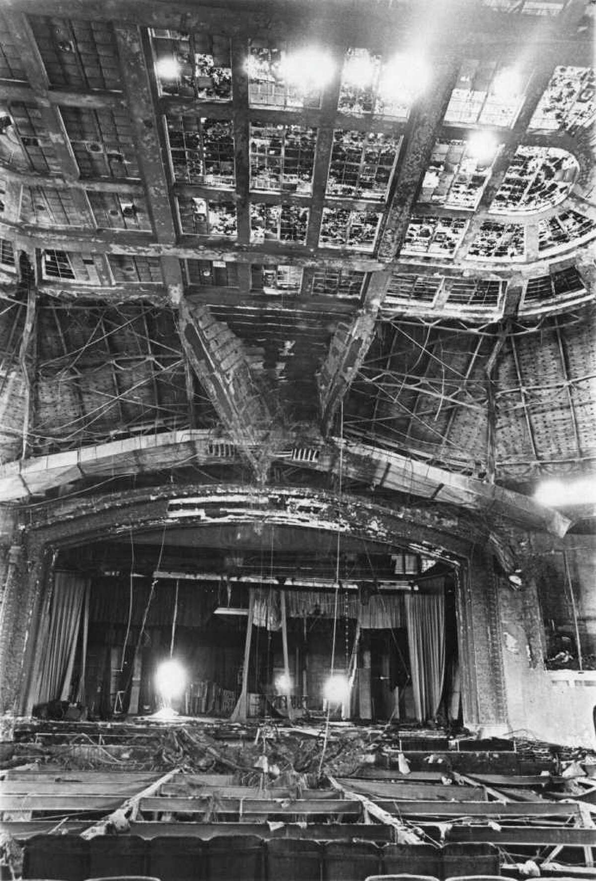 Municipal Auditorium is seen in this 1979 Express-News file photo after a fire gutted the downtown San Antonio facility. The view is looking from the back of the auditorium toward the stage at the front.
