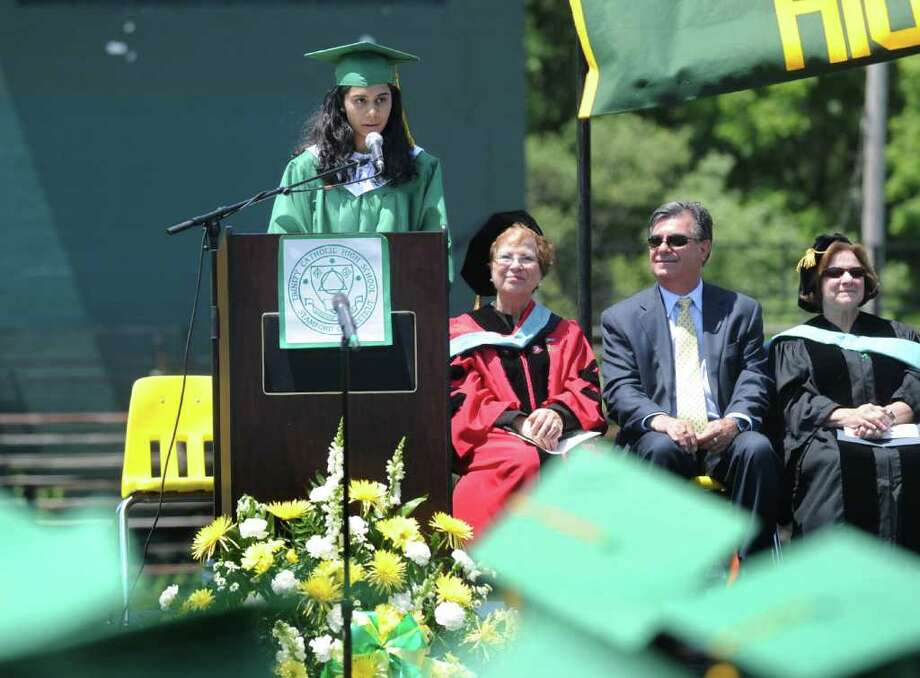 The Trinity Catholic High School Class of 2011 valedictorian Shilpa Kolli speaks to the students, faculty and guests during the Commencement Exercises in Stamford, Conn. on Saturday June 4, 2011. Photo: Kathleen O'Rourke / Stamford Advocate