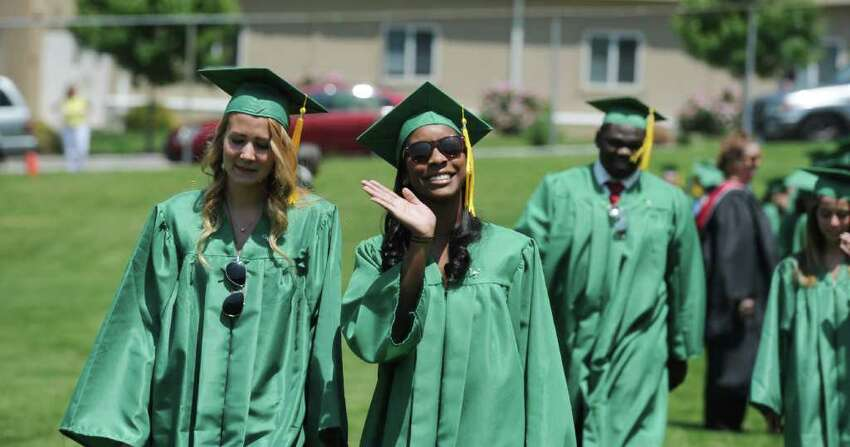 The Trinity Catholic High School Class of 2011 participates in the Commencement Exercises in Stamford, Conn. on Saturday June 4, 2011.