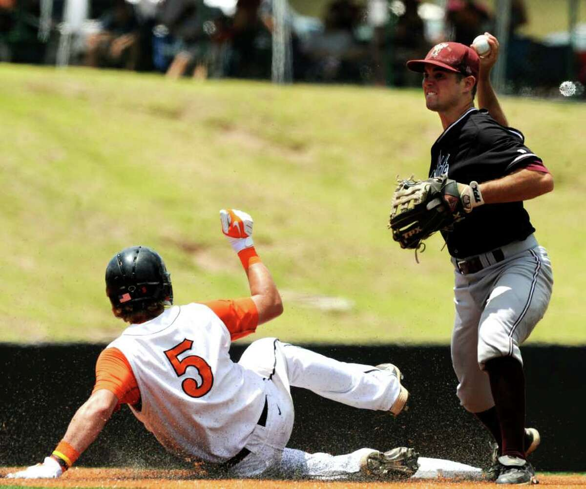 Tyler Sibley of Texas State throws to first as Alex Flink of Princeton slides into second base during NCAA Baseball Austin Regional action on Saturday, June 4, 2011.TSU was unable to turn the double play. BILLY CALZADA / gcalzada@express-news.net