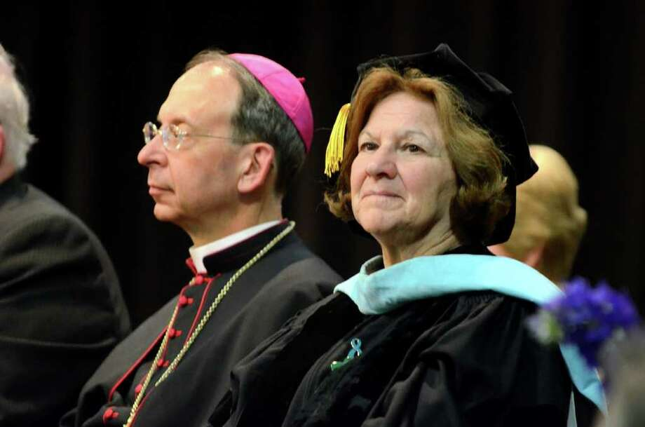 Superintendent of Schools Diocese of Bridgeport, Dr. Margaret Dames, listens to the presentations during the 2011 Notre Dame Catholic High School Commencement at Notre Dame in Fairfield on Saturday, June 4, 2011. Photo: Amy Mortensen / Connecticut Post Freelance