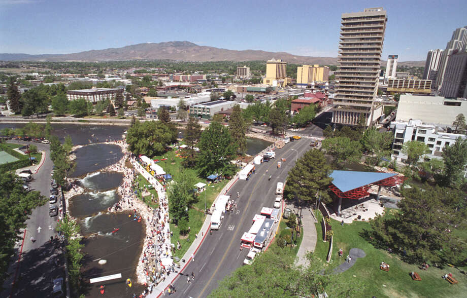 The Truckee River Whitewater Park in downtown Reno, with its manicured grassy banks, is prime real estate for picnics and outdoor festivals, such as the Reno River Festival. COURTESY ROBERT BRYE